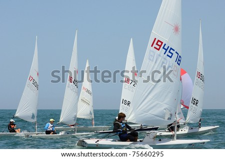 TEL-AVIV, ISRAEL - APRIL 14: Participants compete in the National Yacht Championship 2011 on April,14, 2011 in Tel-Aviv, Israel - stock photo