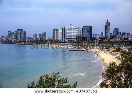TEL AVIV, ISRAEL - APRIL 15, 2014 : Sea coast and the view of the city from old Jaffa