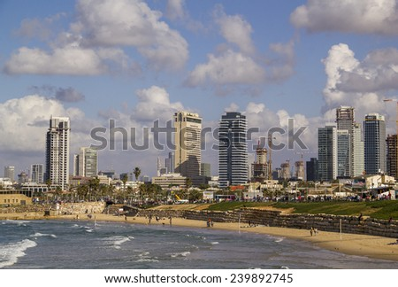 Tel Aviv,Israel-December 20,2014:Coast beach View from Jaffa to Tel-Aviv's Seashore and the city on the background on December 20,2014 .Israel - stock photo