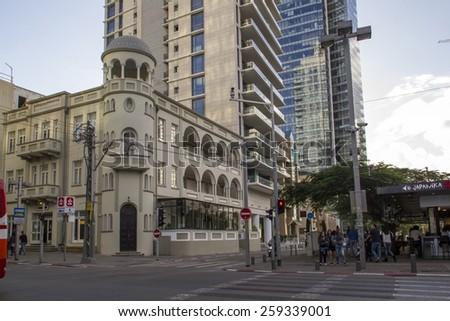 Tel Aviv, Israel- December 20, 2014: Old Renovated and modern Buildings in Rotshild Boulevardt Of Tel Aviv. Israel - stock photo
