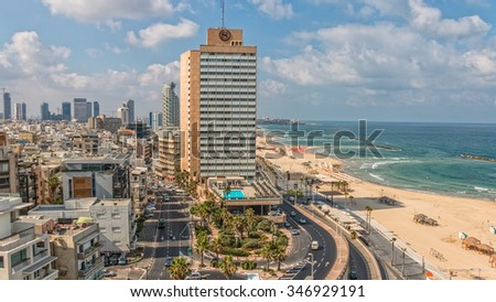 TEL AVIV, ISRAEL - FEBRUARY 26, 2014: Early morning panorama with a view of the beach, riviera and hotels. - stock photo