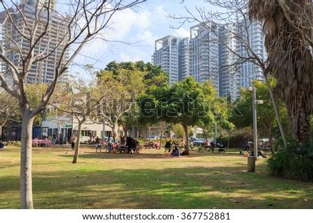 TEL-AVIV, ISRAEL - JANUARY 22, 2016: Park in Sarona, Tel Aviv - stock photo