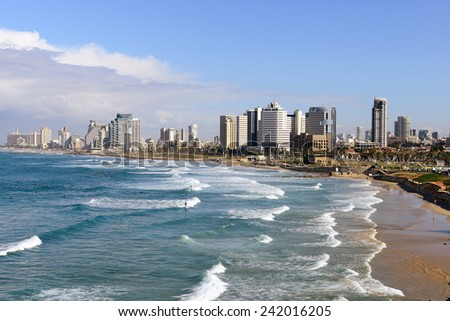 TEL AVIV, ISRAEL-JANUARY 03, 2015: Tel Aviv Coastline view from Jaffa. The second most populous city and the largest metropolitan in Israel with population of 410,000. - stock photo