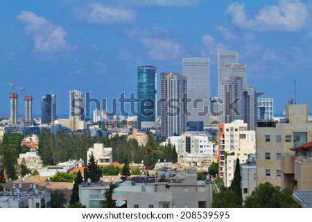 TEL AVIV,ISRAEL-July 19:Cityscape on July 19,2014 in Tel Aviv.The second most populous city and the largest metropolitan in Israel with population of 410,000.