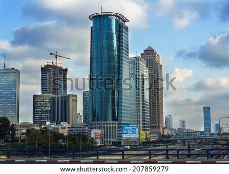 Tel-Aviv , Israel - July 28 . 2014 : View from the Bridge Street Halacha in a southerly direction. View of the Diamond Exchange Tel - Aviv, Israel. evening in Tel Aviv on a background of blue sky  - stock photo