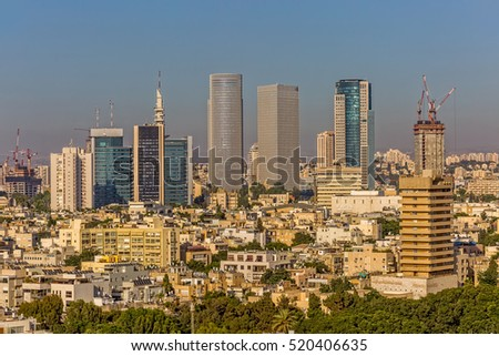 TEL AVIV, ISRAEL - JUNE 18, 2015: Aerial view of the city buildings and houses.
