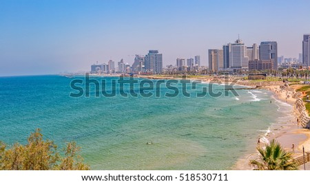 TEL AVIV, ISRAEL - JUNE 18, 2015: Morning panorama with a view of the beach, riviera and hotels.