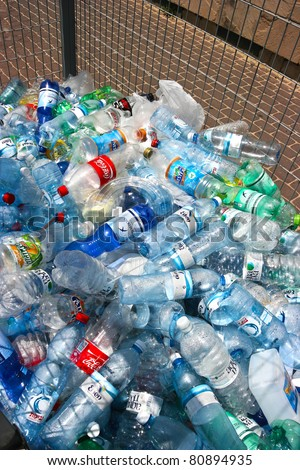 TEL-AVIV, ISRAEL- JUNE 6: Recycling center collects plastic bottles  on June 6, 2011 in Tel-Aviv, Israel. Recycling one ton of plastic saves 7.4 cubic yards of landfill space. - stock photo