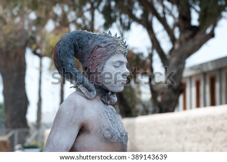 TEL-AVIV, ISRAEL - MARCH 20, 2011: Capricorn or Goat man on Purim holiday