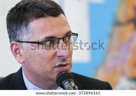 TEL AVIV, ISRAEL. March 2014. Former Interior Minister of Israel Gideon Sa'ar speaking at the press conference.
