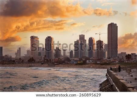 TEL AVIV, ISRAEL - MARCH 2, 2015: The coast under old Jaffa and Tel Aviv in morning. - stock photo