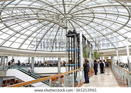 TEL AVIV, ISRAEL - MARCH 21, 2011: Under the dome of shopping center Azrieli