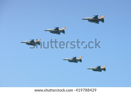 Tel Aviv, Israel - MAY 12, 2016: Army fighter jet F-16 at the Tel Aviv Air Show dedicated to the Israel's Independence Day - stock photo