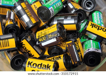 TEL AVIV, ISRAEL -  MAY 19, 2014: Empty cassettes of photographic film. Installation in the Museum Tower, Tel  Aviv - stock photo