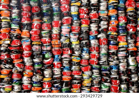 TEL AVIV, ISRAEL -  MAY 19, 2014: Installation of crushed cans in the Museum Tower, Tel  Aviv - stock photo