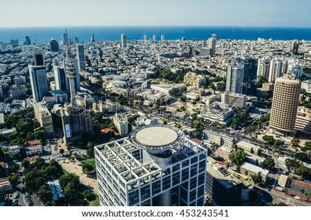 Tel Aviv, Israel - October 21, 2015. Aerial view from 49th floor of Circular Tower, one of three skyscrapers of Azrieli Center complex in Tel Aviv. Matcal Tower on foreground - stock photo