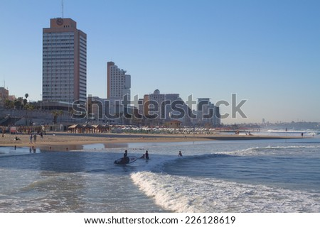 TEL AVIV,ISRAEL-October 25:Hotel District on October 25,2014 in Tel Aviv.The second most populous city and the largest metropolitan in Israel with population of 410,000.