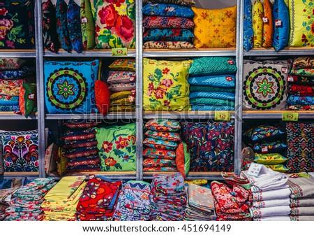 Tel Aviv, Israel - October 20, 2015. Pillows and blankets in shop in historic Neve Tzedek district (lit. Abode of Justice) of Tel Aviv - stock photo