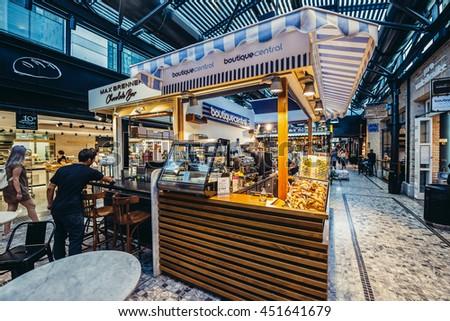 Tel Aviv, Israel - October 21, 2015. Small cafe bars in pupular covered public market called Sarona Market in Tel Aviv - stock photo