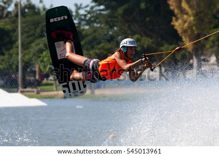 TEL-AVIV, ISRAEL - SEPTEMBER 24: An unidentified participant shows his skills during European Cable Wakeboard Championship on September 24, 2016 in Tel-Aviv, Israel.