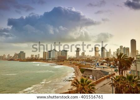 Tel Aviv, Israel. View from Jaffa at sunrise - stock photo