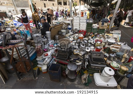 TEL AVIV-JAFFA, ISRAEL - MARCH 8: Flea market with old and vintage merchandise in old city of Jaffa, Israel on March 8, 2014.
