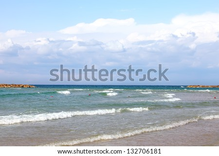 Tel-Aviv Mediterranean sea surfing landscape - stock photo