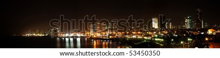 Tel-Aviv night panoramic view - stock photo