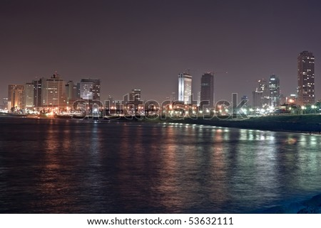 Tel Aviv - night view from Jaffa - stock photo