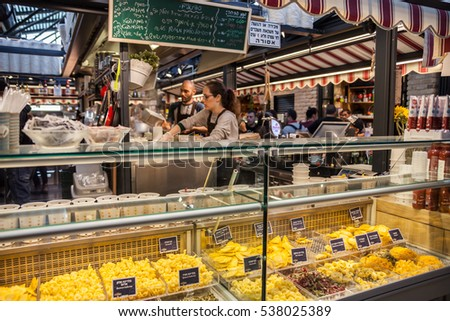 Tel Aviv - November 25: Pasta shop and pasta cafe in Sarona market - Tel Aviv - Jaffa, Israel, November 25, 2016