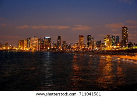 TEL AVIV - October 9, 2016: Night city. beach and Mediterranean sea. Israel