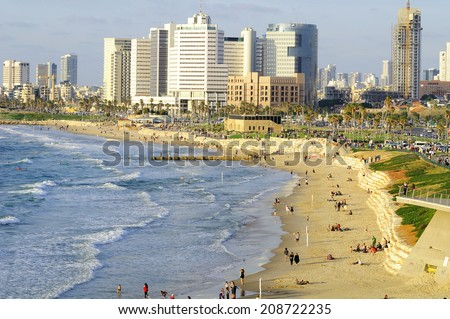 Tel Aviv seashore as seen from Old Jaffa. Israel. - stock photo