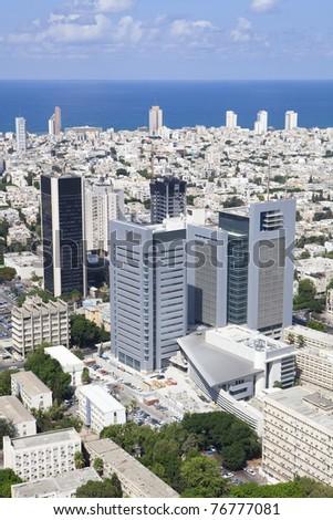 Tel Aviv skyline / Aerial view of Tel Aviv - stock photo