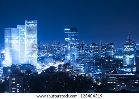 Tel Aviv  Skyline at night - stock photo