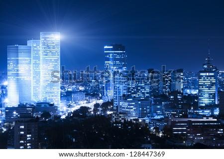Tel Aviv Skyline at night - Building Lights - stock photo