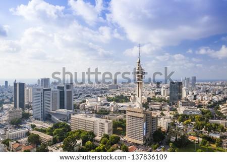 Tel Aviv  Skyline at Sunny Day - stock photo