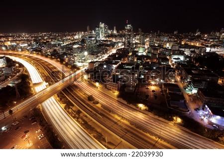 Tel Aviv Skyline - Tel Aviv at twilight / The night city /  View of Tel Aviv by night. - stock photo