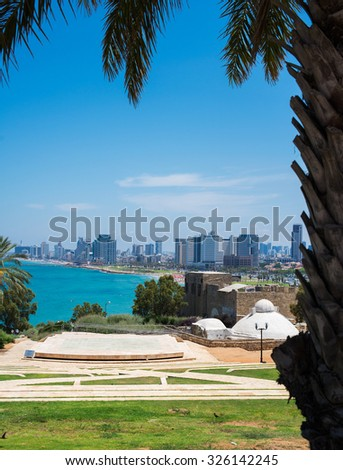 Tel-Aviv view from the old to the new town - stock photo