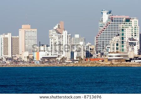 Tel Aviv - View of the beach from Jaffa. - stock photo