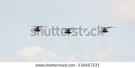 TEL NOF, ISRAEL -APRIL 16: Army Sikorsky CH-53  performing an exhibition exercise during the Israeli Independence day show on April 16, 2013 in Tel Nof, Israel. - stock photo