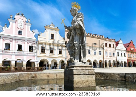 TELC, CZECH REPUBLIC - JULY 29 - historical renaissance center (UNESCO) on July 29, 2013 in Telc town, Vysocina region, Czech republic, Europe - stock photo
