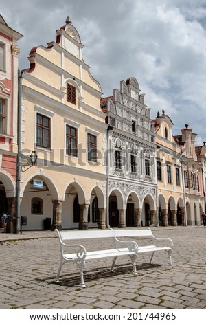 TELC, CZECH REPUBLIC, JUNE 3, 2014 - A row of nice facade houses with arcade on main square