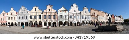 TELC, CZECH REPUBLIC, 28TH AUGUST 2015 - Panoramic view of Telc or Teltsch town square with renaissance and baroque colorful houses, UNESCO town in Czech Republic
