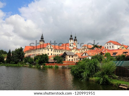 telc  is a town in southern Moravia, near Jihlava, in the Czech Republic - stock photo