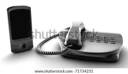 Telco bundle fix and cell phone isolated on white - stock photo
