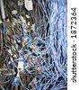 Telco cables  spaghetti - stock photo