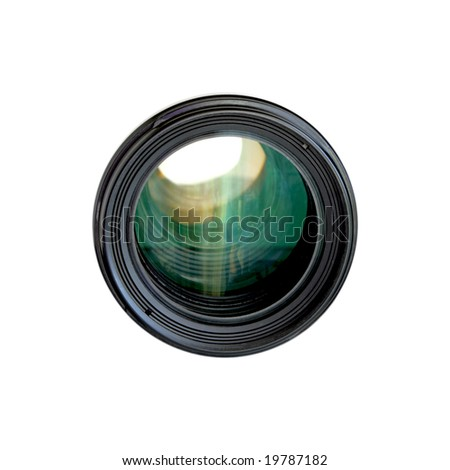 Tele camera lens isolated on white background - stock photo