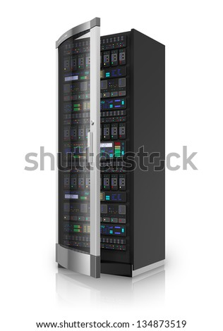 Telecommunication and computer cloud networking technology service concept: network server rack isolated on white background with reflection effect - stock photo
