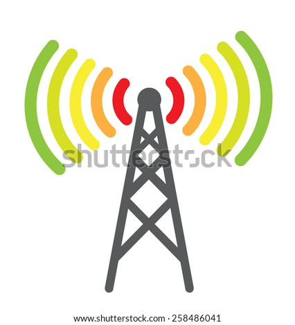 Telecommunication antenna icon with colored waves as energy efficiency concept - stock photo