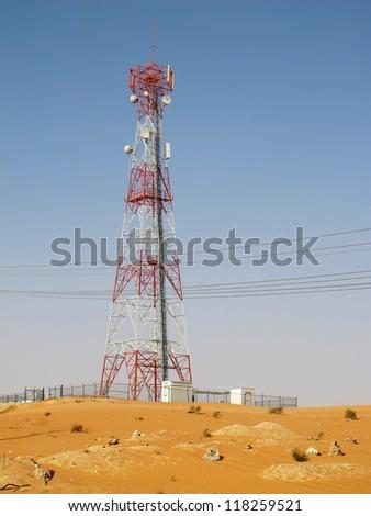 Telecommunication antenna near Riyadh, Saudi Arabia - stock photo